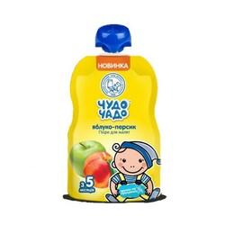 "Чудо-чадо. Пюре ""Яблоко, персик"" с сахаром, 5 мес+, 90 г. (253636)"