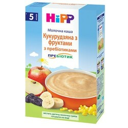 HiPP. Каша молочная кукурузная с фруктами и пребиотиками, 5мес+, 250г (2953)