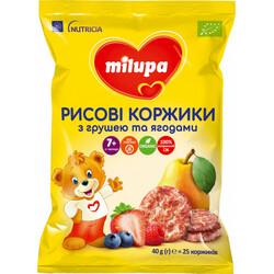 Milupa. Рисовые коржики Milupa с грушей и ягодами для питания детей от 7-ми мес 40 г (8720097005291)